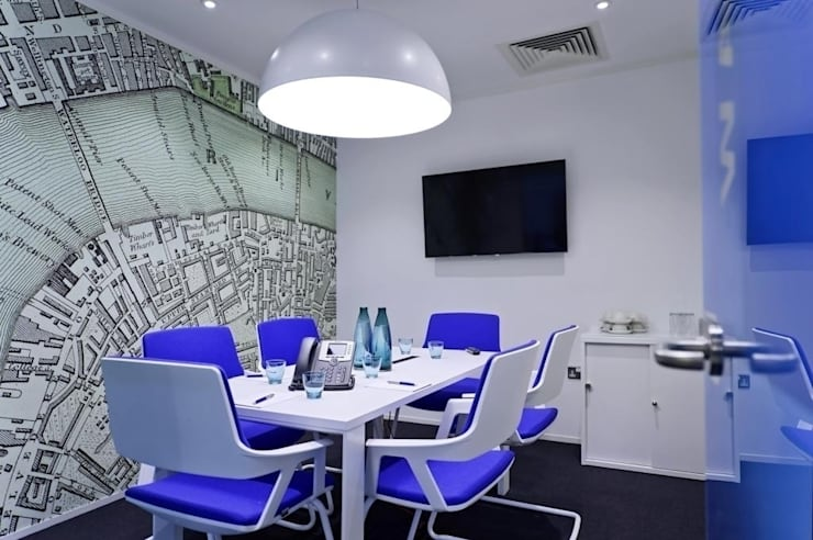 Bespoke map wallcoverings:  Office buildings by Tektura Wallcoverings