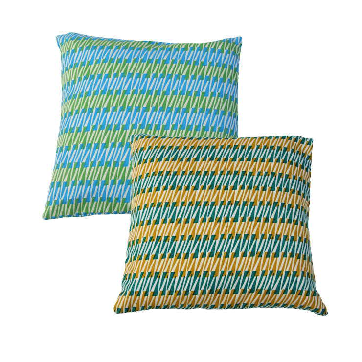 """Hand Printed British Woven 18"""" Cushions in Thorns Print:  Household by Sarah Waterhouse"""