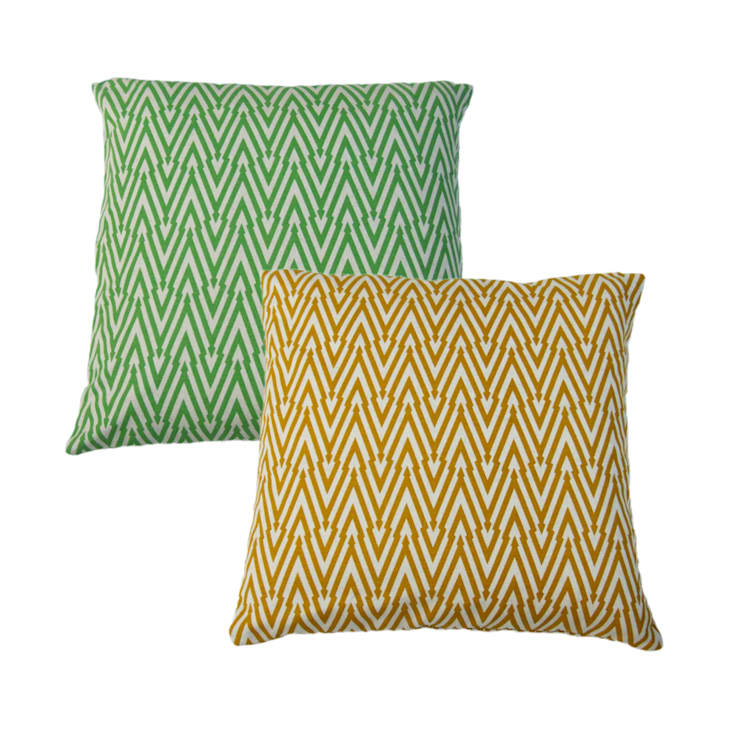 """Hand Printed British Woven 18"""" Cushions in Thunderbolt Print:  Household by Sarah Waterhouse"""