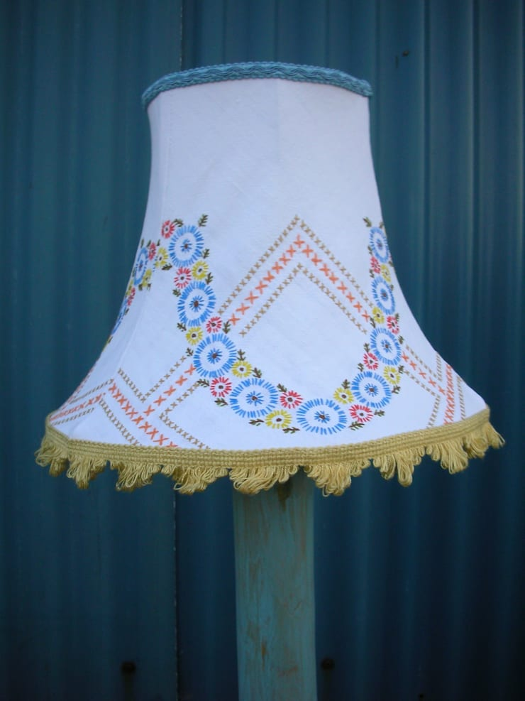 Embroidered tablecloth lampshade:  Household by Random Makes