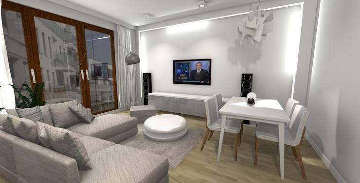 Dla dwojga: styl , w kategorii Salon zaprojektowany przez ZAWICKA-ID Projektowanie wnętrz