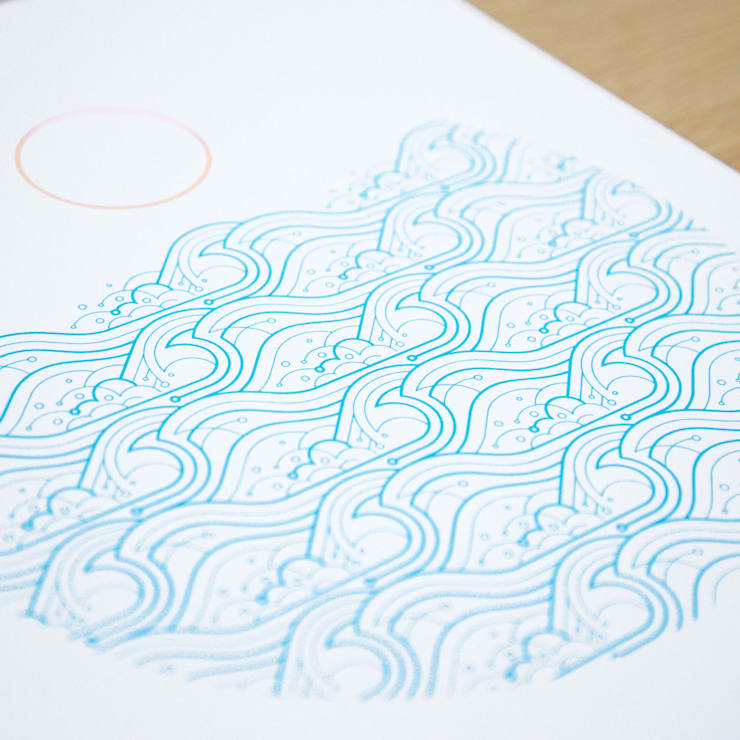 Waves A3 screen print:  Artwork by The Lost Fox