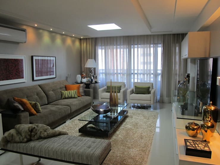 Apartamento de 210m²: Salas de estar  por unacasa arquitetura