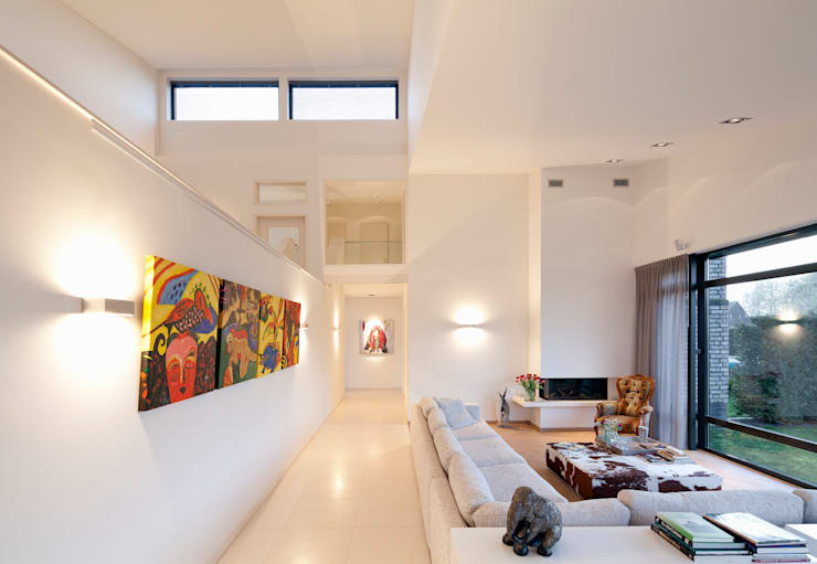 Zithoek:  Woonkamer door Sax Architecten, Modern