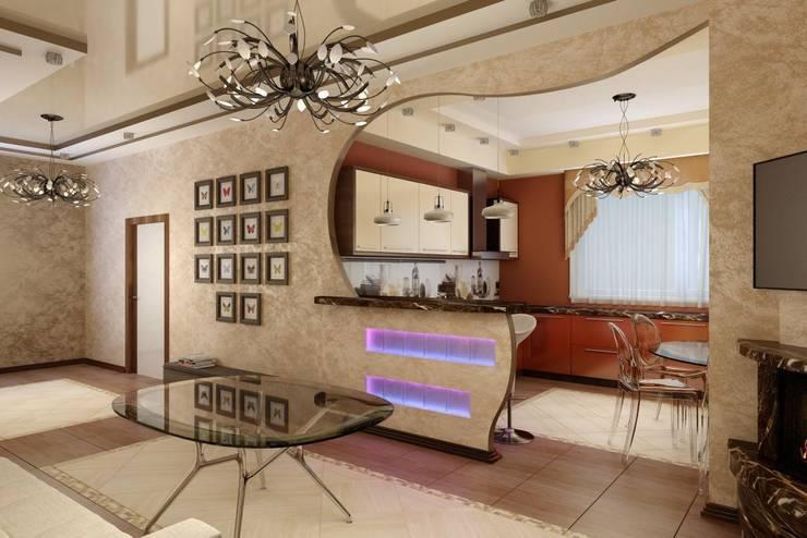 Современная кухня с барной стойкой: Кухни в . Автор – Дизайн студия 'Exmod' Павел Цунев