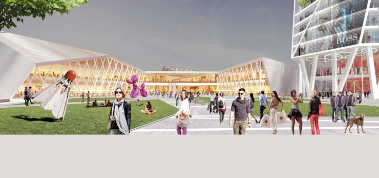 Shopping Center Novoriga: Centros comerciales de estilo  de TBI Architecture & Engineering