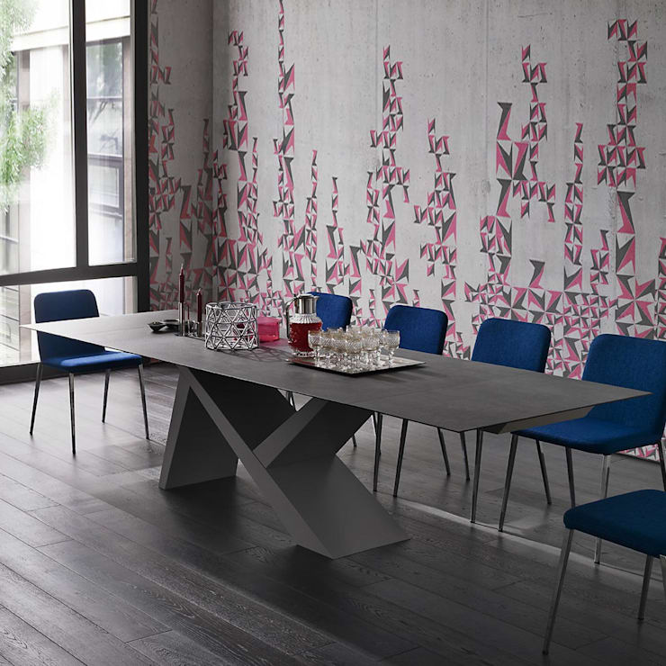 'Ikarus X' Contemporary fixed/extendible dining table by Sedit:  Dining room by My Italian Living