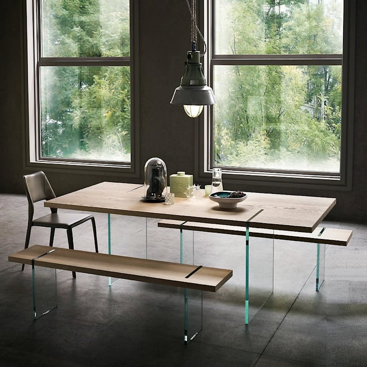 'Reflex' design glass base dining table by Sedit:  Dining room by My Italian Living