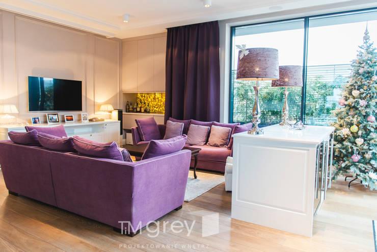 NY Style Apartment : styl , w kategorii Salon zaprojektowany przez TiM Grey Interior Design