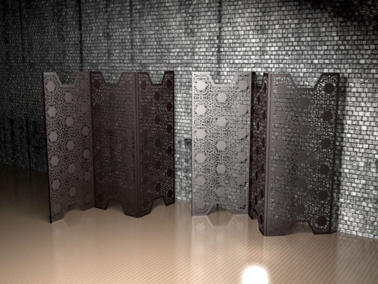 Black Lace screen partitions and room dividers:  Living room by Laser cut Furniture & Screens