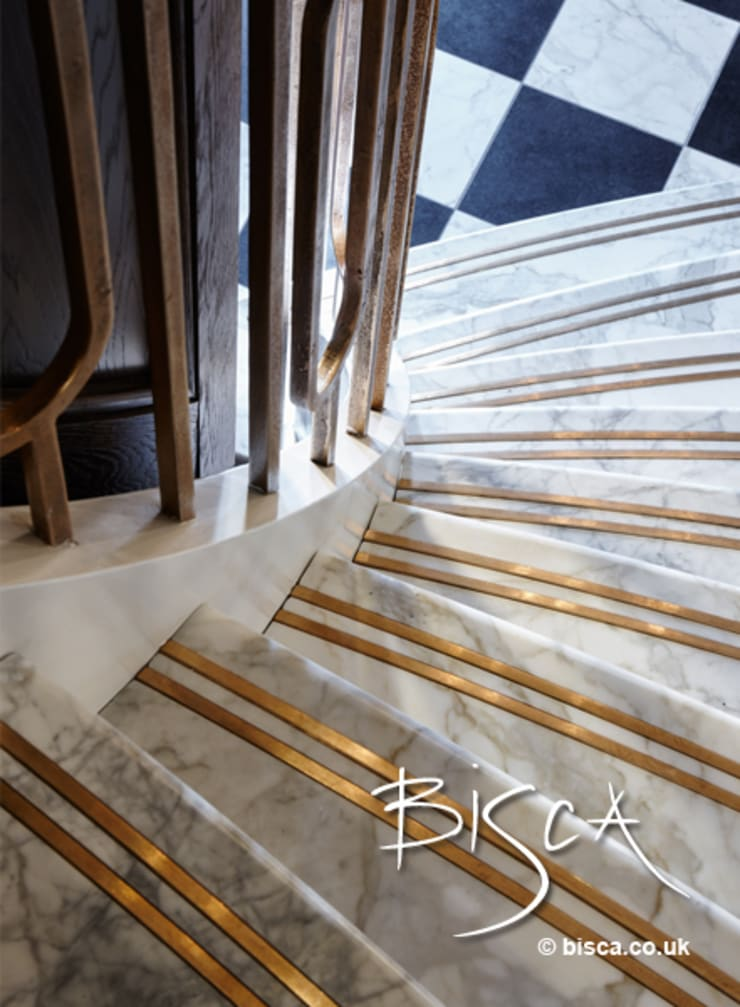 Stone Staircase with inlaid bronze non slip inserts:  Corridor & hallway by Bisca Staircases