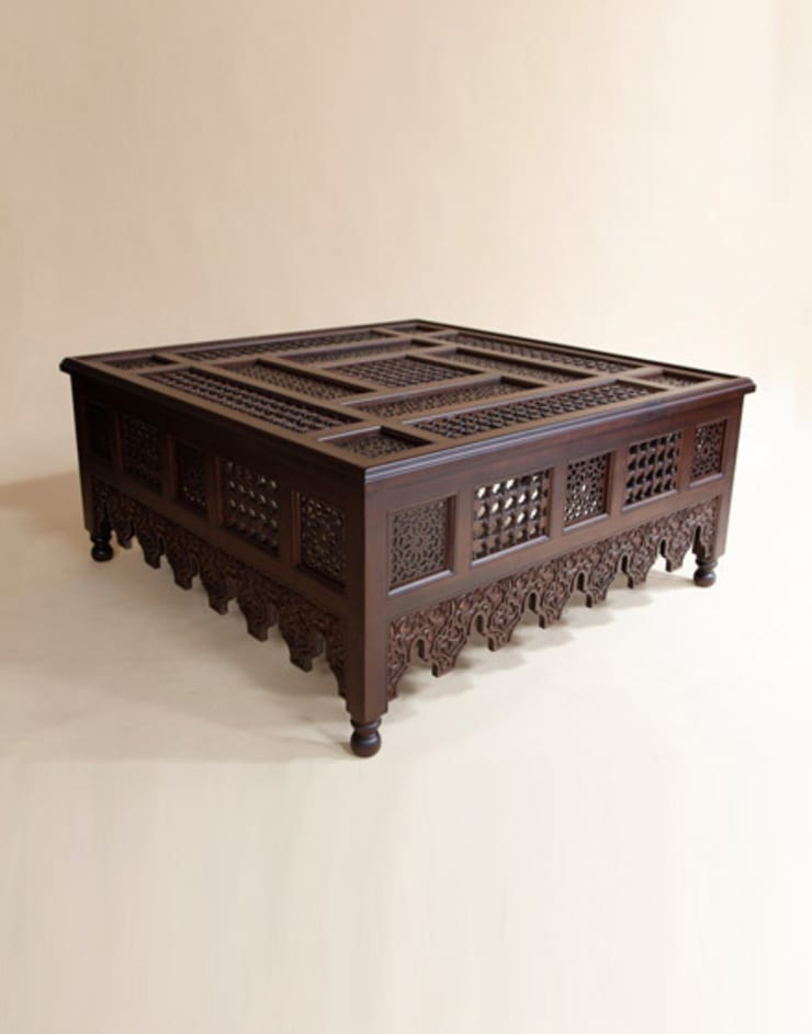 Moroccan Wooden Large Coffee Table:  Living room by Moroccan Bazaar
