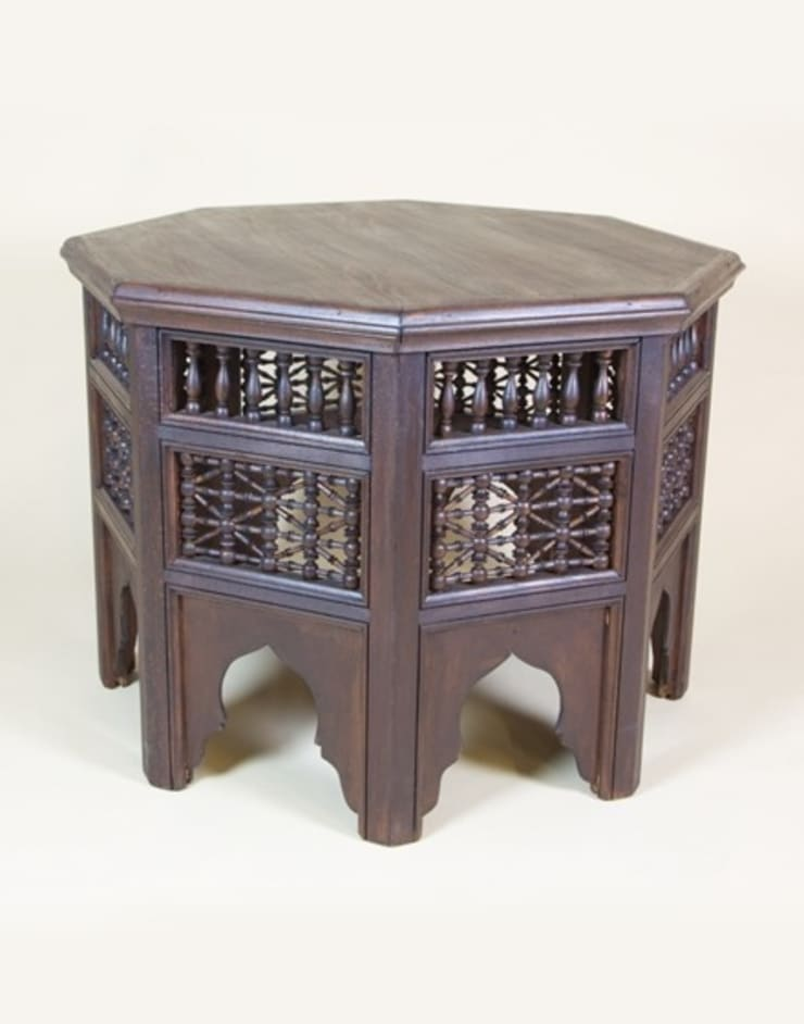 Moroccan Wooden Side Table:  Living room by Moroccan Bazaar