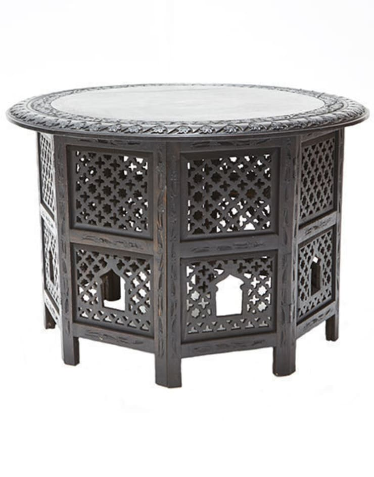 Black Wooden Carved Moroccan Round Table:  Living room by Moroccan Bazaar