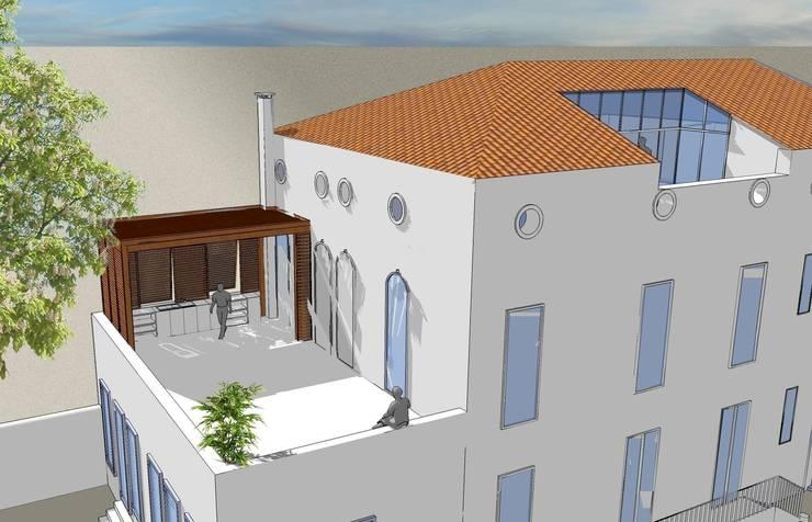 Simulation des aménagements exterieurs des terrasses:  de style  par AGENCE D'ARCHITECTURE BRAYER-HUGON