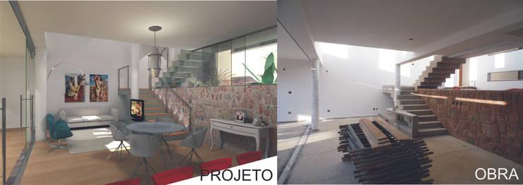 Casa Rua Romildo Morelli: Salas de estar  por Sérgio Machado Arquitetura