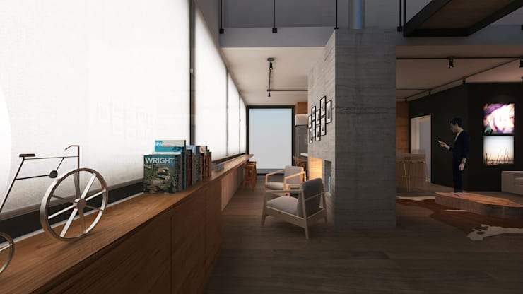 Casa Loft: Sala de estar  por K+S arquitetos associados