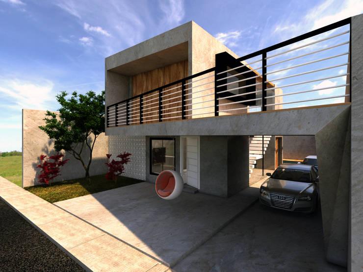 Fachada: Garagens e edículas  por Ateliê São Paulo Arquitetura