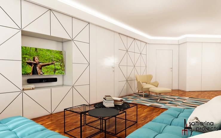 Квартира для семьи с ограниченными физическими возможностями : Гостиная в . Автор – Samarina projects