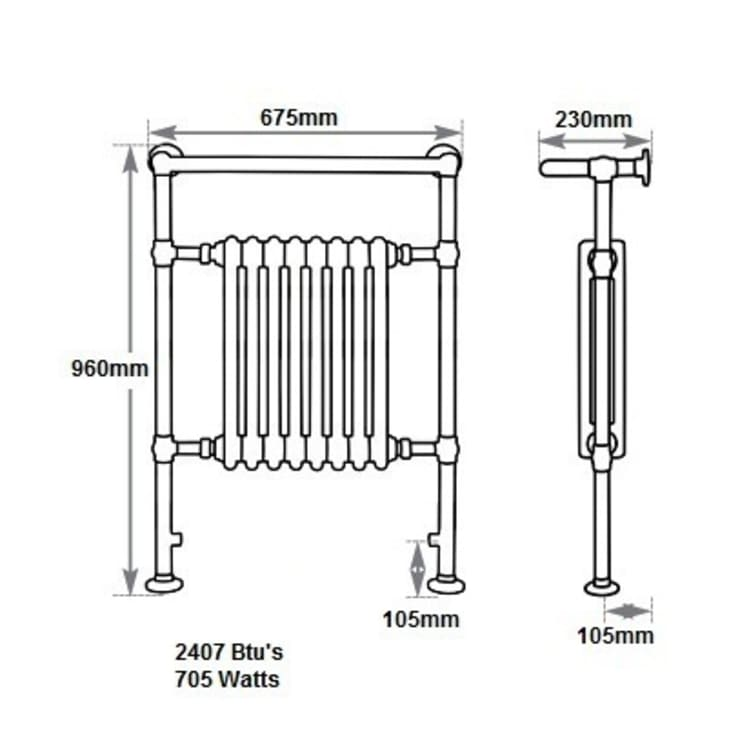Dimensions of the Broughton Towel Rail :   by UK Architectural Antiques