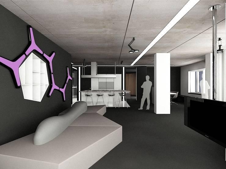Гостиная с видом на кухню: Гостиная в . Автор – (DZ)M Интеллектуальный Дизайн