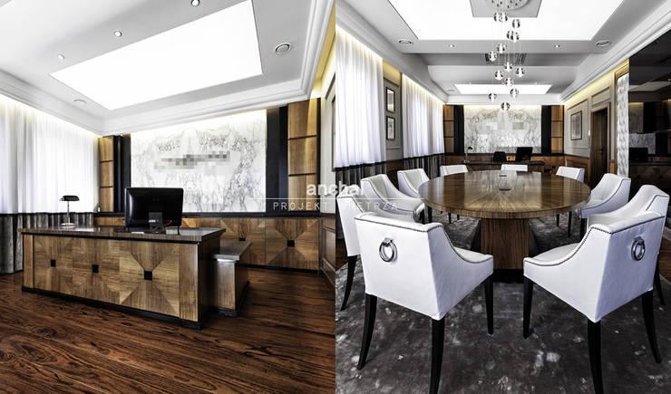 Gabinet Prezesa: styl , w kategorii Przestrzenie biurowe i magazynowe zaprojektowany przez Anchal Anna Kuk-Dutka