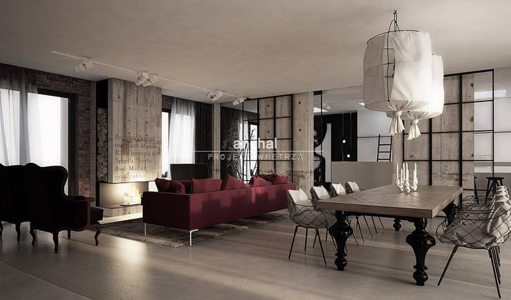 Jadalnia z salonem: styl , w kategorii  zaprojektowany przez Anchal Anna Kuk-Dutka