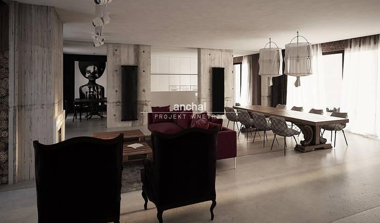 Salon z kuchnią: styl , w kategorii Salon zaprojektowany przez Anchal Anna Kuk-Dutka