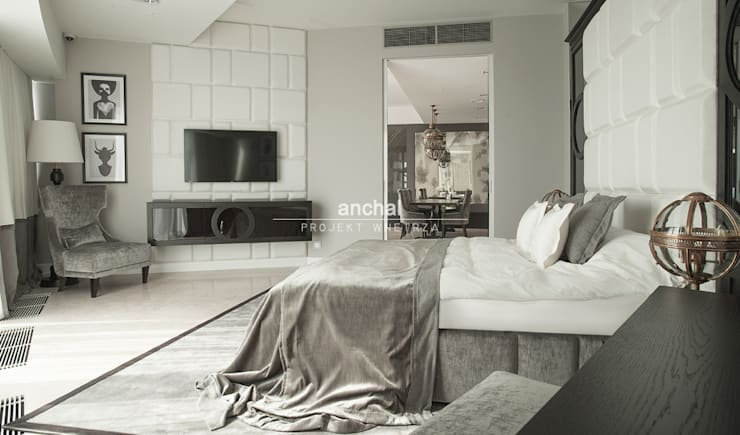 Klasyczna sypialnia z elemntami modernizmu: styl , w kategorii Sypialnia zaprojektowany przez Anchal Anna Kuk-Dutka