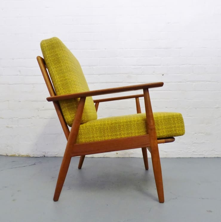 1960s Danish teak easy chair with yellow cushions:  Living room by Archive Furniture