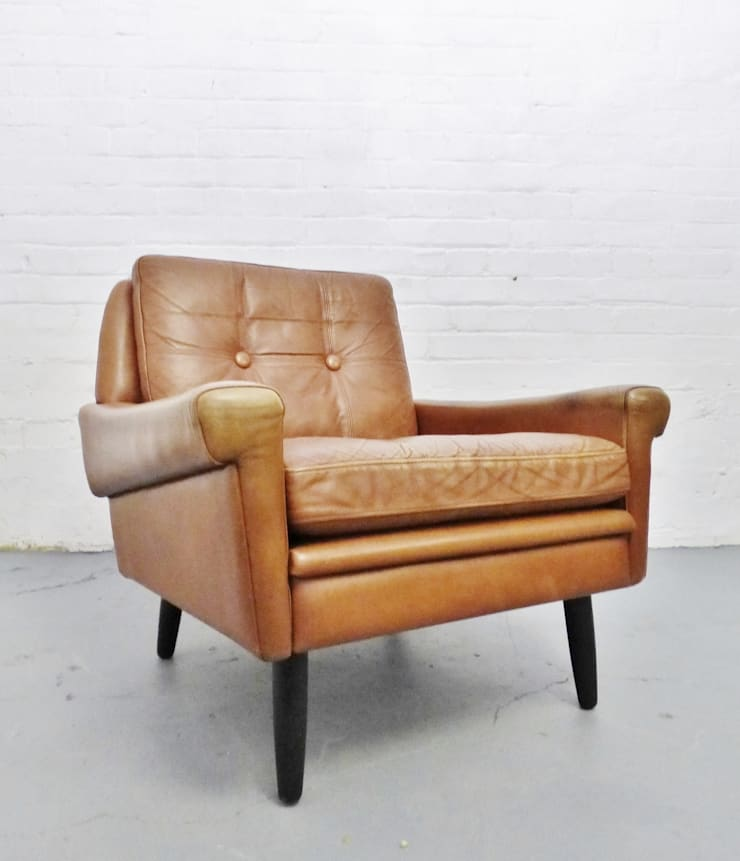 1960s tan leather Skipper chair :  Living room by Archive Furniture