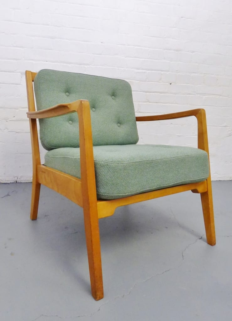 1950s Danish armchair with mint green cushions :  Living room by Archive Furniture