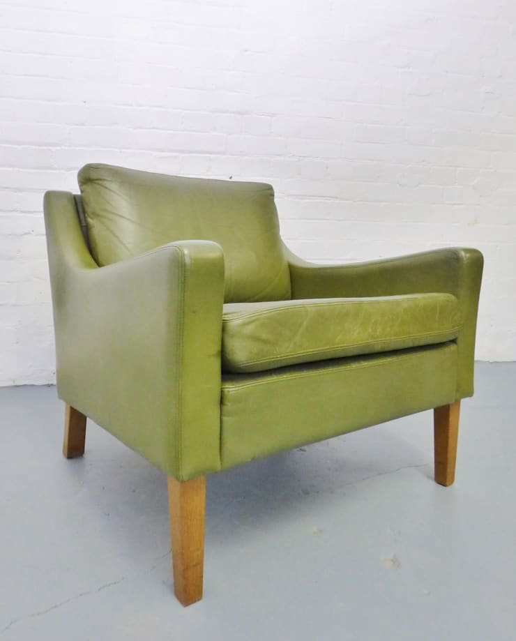 1960s classic Danish green leather armchair :  Living room by Archive Furniture