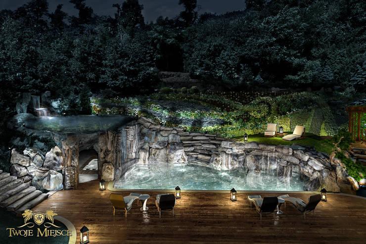 Taras połączony z grotą skalną i basenem: styl , w kategorii Basen zaprojektowany przez Twoje Miejsce