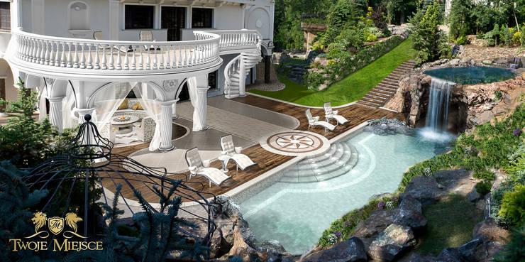 Taras z balkonem, grota skalna i basenem: styl , w kategorii Taras zaprojektowany przez Twoje Miejsce