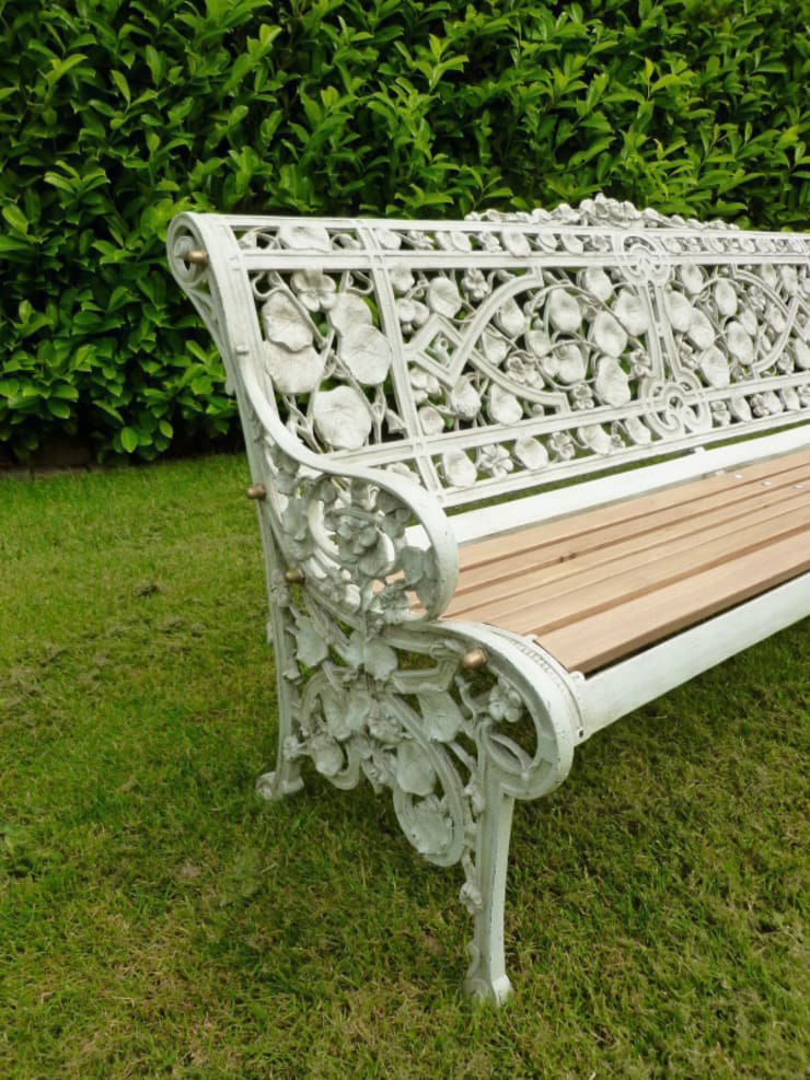 The side view of the Coalbrookdale Nasturtium Garden Bench :  Garden  by UK Architectural Antiques