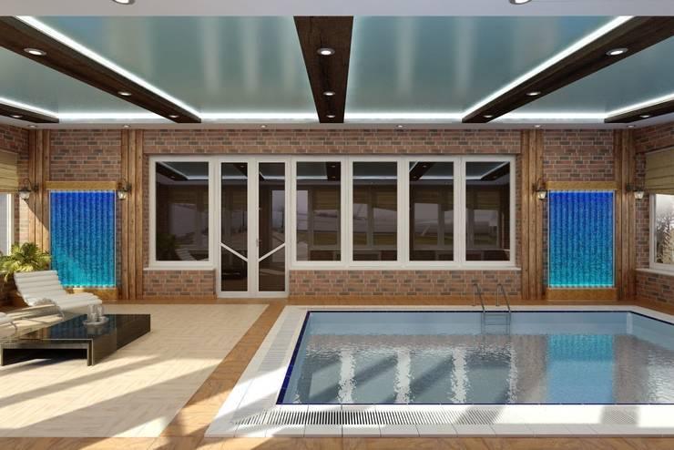 Дизайн бассейна: Бассейн в . Автор – Цунёв_Дизайн. Студия интерьерных решений.,