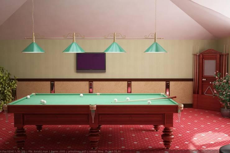Бильярдная на мансардном этаже: Тренажерные комнаты в . Автор – Дизайн студия 'Exmod' Павел Цунев