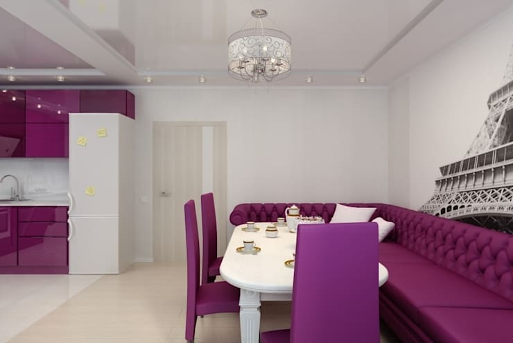Дизайн кухни-гостиной. г. Буденовск: Гостиная в . Автор – Дизайн студия 'Exmod' Павел Цунев