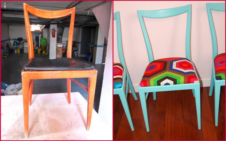4 sillas recuperadas años 50 Mari-Shere:  de estilo  de Amarquimia