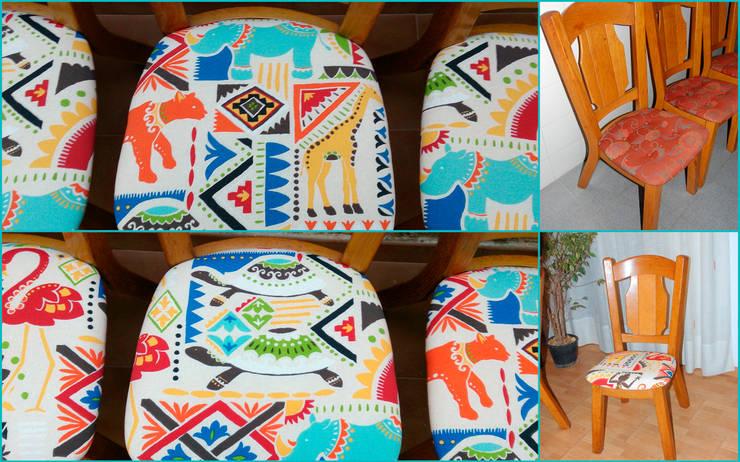 6 sillas retapizadas con tela selvática:  de estilo  de Amarquimia