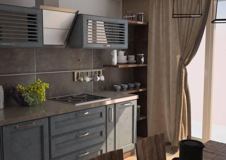 Квартира в стиле лофт (г.Москва): Кухни в . Автор – DS Fresco