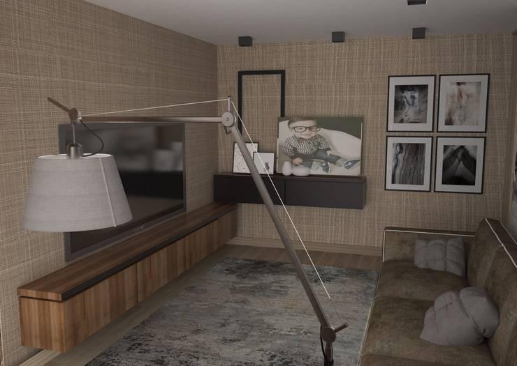Квартира в стиле лофт (г.Москва): Гостиная в . Автор – DS Fresco