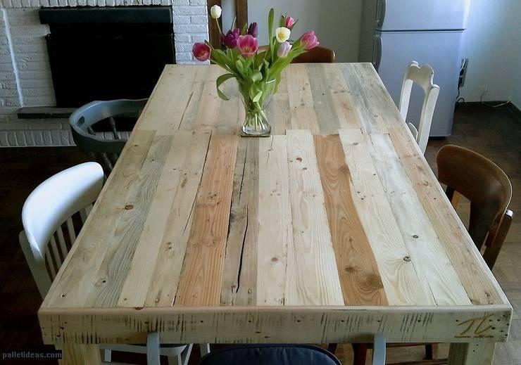 Stół z naturalnego drewna: styl , w kategorii Kuchnia zaprojektowany przez Palletideas