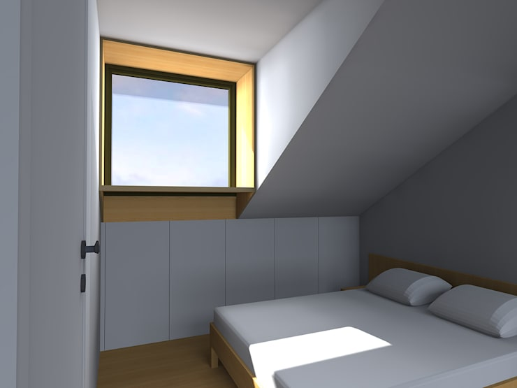 Kensington & Chelsea roof extension:  Bedroom by Satish Jassal Architects