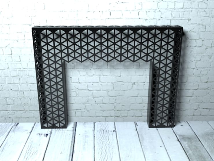 Black geometric console table or side table:  Living room by Laser cut Furniture & Screens