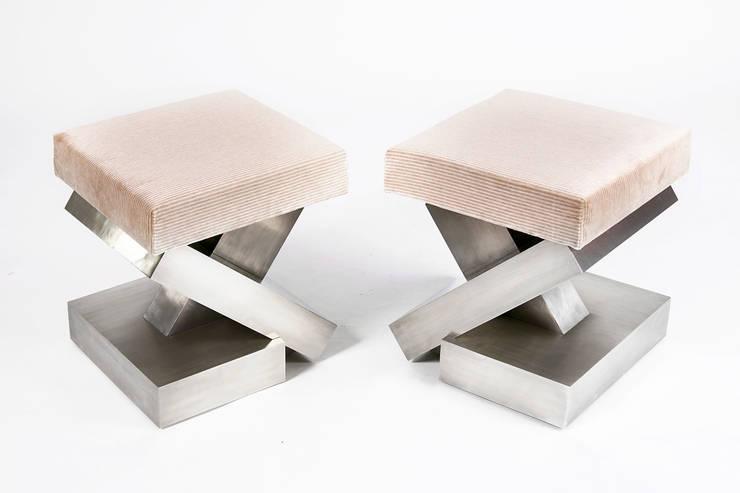 Pewter Footstools:  Living room by Rupert Bevan Ltd