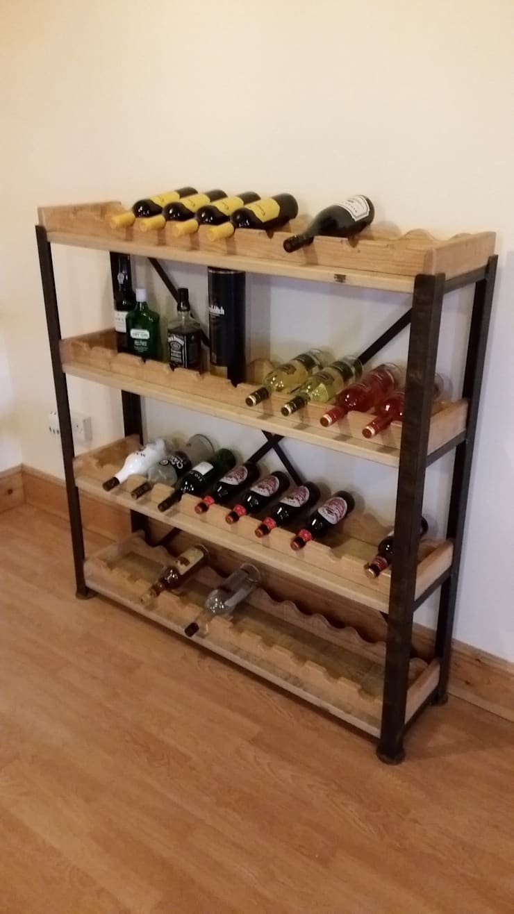 Steel and Oak shelving with removable wine racks:  Wine cellar by V I Metal Ltd