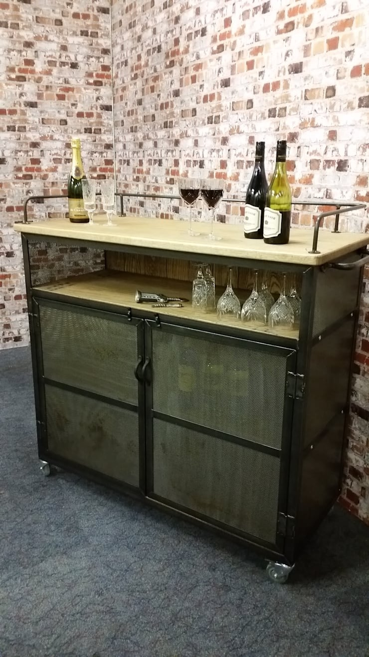 Industrial Wine/Drinks Trolley on lockable castors :  Dining room by V I Metal Ltd