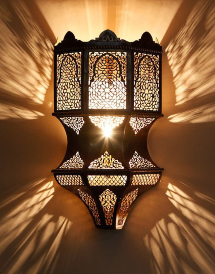 Imperial Pierced Moroccan Wall light in Antique Brass :  Corridor, hallway & stairs by Moroccan Bazaar